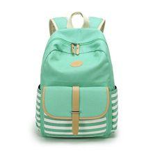 Canvas Backpack Striped Women Bagpack Teenagers Backpacks For Teenage Teen Girls Youth Feminine Backpack Girl Mochila Feminina(China (Mainland))