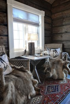 Norefjell Guest Mountain Cabin is located in the Norefjell Ski Resort in Buskerud County, Norway Reindeer Skins at Norefjell Guest Mountain Cabin, located in the Norefjell Ski Resort in Buskerud County, Norway. http://www.norefjellhytta.com/