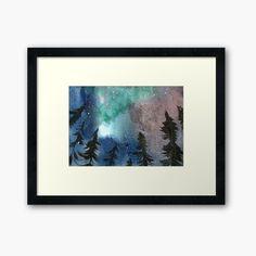 Ture Love, Light Painting, Aurora Borealis, Winter Snow, Home Art, Woods, Northern Lights, Trees, Framed Prints