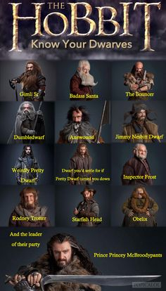 Guía para reconocer a los enanos de The Hobbit > Know your dwarves #Tolkien #TheHobbit #Humor
