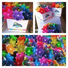Cajas de flores de origami - Colores del arco iris 🌈
