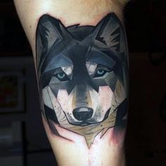 Amazing Geometric Wolf Bicep Inner Arm Watercolor Tattoos For Men