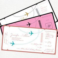 come fly with me airplane boarding pass invitation - printable file. $32.00, via Etsy. #aviationweddingideas