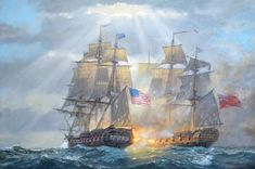 Uss Constitution, Old Sailing Ships, Adventure Of The Seas, Ship Paintings, Cool Boats, Military Art, Military History, Wooden Ship, Nautical Art