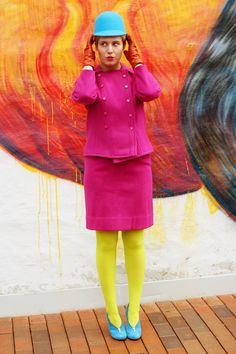 Iben Bergstrøm in lemon yellow tights, pink skirt suit and light blue shoes + hat Yellow Tights, Colored Tights, Secretary Outfits, Light Blue Shoes, Lemon Yellow, Outfit Combinations, Skirt Suit, Hosiery, Peplum Dress