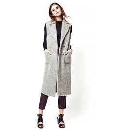 Topshop Textured Wool Blend Sleeveless Coat