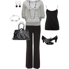 """""""Silver and black work outfit"""" by christij327 on Polyvore"""
