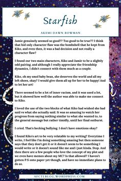 Starfish by Akemi Dawn Bowman . . . . .    . . . . . 3 / 5 review . . . . .    . . . . . Book Blog - A Few Chapters 'til Love . . . . .    . . . . .Book review . . . . .    Young Adult, Contemporary, Romance, Mental Health