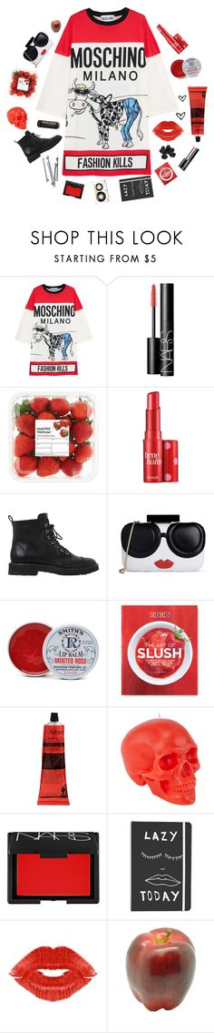 """Tee dress!!!!!"" by karineminzonwilson ❤ liked on Polyvore featuring Moschino, NARS Cosmetics, Benefit, Giuseppe Zanotti, Alice + Olivia, Rosebud Perfume Co., Zoku, Aesop, D.L. & Co. and BOBBY"