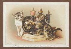 C5790 VGC Victorian Wirths Bros Xmas Card: Cats & Sewing Machine. Helena Maguire.