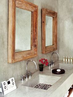 4 Reliable Tips AND Tricks: Bathroom Remodel Country Tile bathroom remodel lighting before after.Bathroom Remodel With Window Built Ins bathroom remodel country tile.Bathroom Remodel Tips Floor Plans. Bad Inspiration, Bathroom Inspiration, Concrete Bathroom, Stone Bathroom, Bathroom Mirrors, Concrete Basin, Narrow Bathroom, Guest Bathrooms, Hall Bathroom
