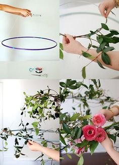 Tutorial: Make a hanging flower chandelier for your next party Step-by-step: How to wrap flowers and vines around your wire circle, via Flower Chandelier, Diy Chandelier, Hula Hoop Chandelier, Iron Chandeliers, Diy Wedding, Rustic Wedding, Wedding Flowers, Wedding Ceremony, Wedding Greenery