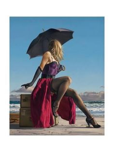 Paul Kelley's sensual art has a romantic appeal, from his figurative painting, fashion artwork, and nude art prints, to his dance artwork and Nova Scotia art. Umbrella Art, Under My Umbrella, Umbrella Painting, Beach Canvas Art, Big Canvas, Beach Art, Framed Canvas, Canvas Size, Paul Kelly