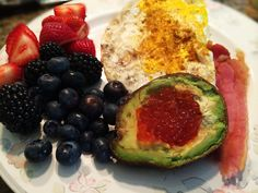 Eggs, Bacon, Avocado With salmon Roe, And Berries: 7/9/14