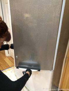 Painting a White Refrigerator with Liquid Stainless Steel - Southern Hospitality Stainless Steel Contact Paper, Refrigerator, How To Remove Rust, Door Handles, Stainless Steel Refrigerator, Steel, Stainless Steel Fridge, Stainless Steel, Painted Fridge