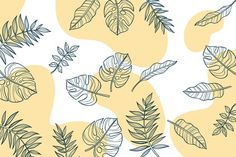 Linear Foliage Leaves With Pastel Color Background
