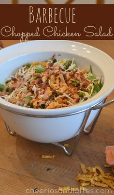 Barbecue Chopped Chicken Salad {Panera Copycat Recipe} DS - loved this and easy. Used tortilla chips, crushed, instead of strips. Didn't use peppers. Shredded chicken and bagged lettuce if use romaine two heads to much, cut back. Copycat Recipes, Soup Recipes, Chicken Recipes, Dinner Recipes, Cooking Recipes, Healthy Recipes, Summer Salad Recipes, Summer Salads, Panera Salad