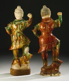 TWO SANCAI-GLAZED POTTERY FIGURES OF LOKAPALA<br>TANG DYNASTY | Lot | Sotheby's