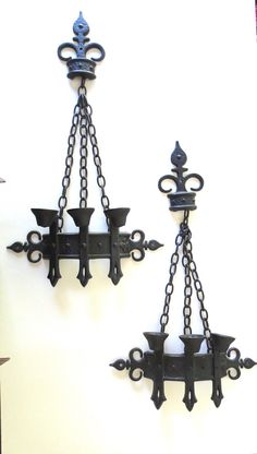 Haunting Gothic Black Metal Sconce Pair Medieval by JackpotJen