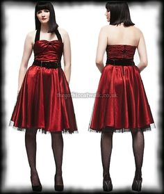Hell Bunny Red Satin & Black Net Dress