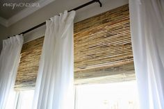 Decorating Ideas, : Interesting Image Of Window Treatment Decoration Using Bamboo Wooden Outside Mount Roman Shades Along With Plain White Curtain And Black Iron Single Curtain Rod