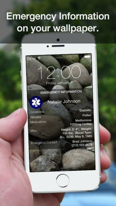 ICE app stores your emergency medical information on your phones wallpaper. identifies emergency contact and also stores medical insurance and ID cards