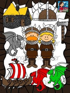 Vikings and dragons?! This 18 piece Viking clipart bundle features a variety of Viking graphics! The bundle includes a Viking girl and boy, dragons, stone cottage, Viking ship, double sided axe, and viking hats! It includes 9 individual, colored graphics (as seen in the preview) and 9 individual black and white graphics (1 of each). $3.50