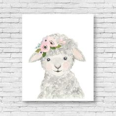 Baby animal : lamb  Lets make your little ones room warm and enjoyable!  It is designed in softer grey tones perfect for a nursery or childs room.    Materials: Printed on beautiful high quality, archival and acid free watercolor fine art paper using professional Epson Ultra Chrome inks. Prints will be signed and dated.  Size: Available in 5 sizes! (5x7, 8x10, 11x14, 13x19,16x20) Please make your selection from the drop-down menu at check out.   Shipping: Each print will be shipped in rigid… Lamb Nursery, Animal Nursery, Woodland Nursery, Nursery Prints, Nursery Art, Love Painting, Painting & Drawing, Watercolor Animals, Watercolor Art