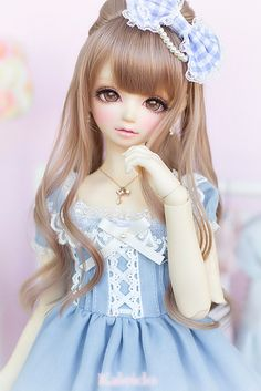 ✿• ' bjd ' ~ ' ball jointed doll ' •✿ sweet lolita. . .pretty dress. . .lace. . .ribbons. . .hair bow. . .pearls. . .necklace. . .long hair. . .cute. . .miniature. . .kawaii