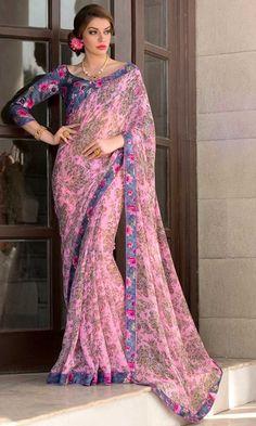 Pink Digital Printed Saree-