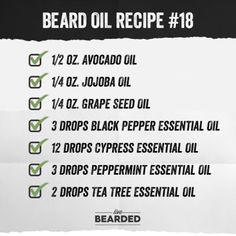 Beard Oil Recipe List You Can Make At Home and Counting) - Beard Tips Black Pepper Essential Oil, Cypress Essential Oil, Tea Tree Essential Oil, Essential Oil Blends, Essential Oils, Diy Beard Oil, Best Beard Oil, Beard Butter, Beard Tips