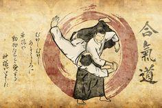Meu segundo desenho com o tema Aikido. As letras em japones da esquerda eu não sei o que dizem, foi a único texto que consegui achar com está forma de escrita. gostaria de colocar al...