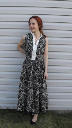 Vintage 50s Dress Black White Print S Cotton Full Skirt Sleeveless 36 Bust. $49.99, via Etsy.