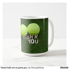 Shop Tennis balls are on green grass Thank You Coffee Mug created by Tennisgiftshop. Personalised Mugs, Succulents Diy, Appreciation Gifts, Green Grass, Thank You Gifts, Drinkware, Photo Mugs, Balls, Tennis