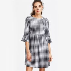 Dresses Length: Knee-Length Sleeve Length(cm): Three Quarter Silhouette: A-Line Season: Summer Style: Cute Sleeve Style: Regular Material: Cotton Neckline: O-Neck Decoration: Ruffles Waistline: Natural Pattern Type: Plaid