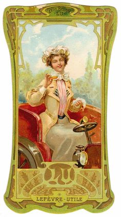 TRADE CARD CHROMO LU LEFEVRE-UTILE BISCUIT PETIT BEURRE AUTOMOBILE ART NOUVEAU #LefevreUtile