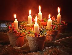 Christmas Candle Art - Candles In Terracotta Pots by Amanda And Christopher Elwell Noel Christmas, Christmas Images, Christmas Crafts, Xmas, Christmas Ideas, Hygge Christmas, Christmas Print, Christmas Candle Decorations, Christmas Candles
