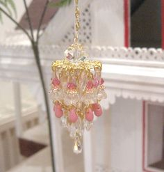 Dollhouse chandelier light rose gold plated by Rainbowminiatures