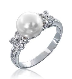 Bling Jewelry Flower CZ Pearl Engagement Ring - Size 6 - Lusciously romantic. Our Flower CZ Diamond Pearl Engagement Ring is that inexpensive ring that you want to buy when you want a luxury look and a discount price. This charming cz engagement ring