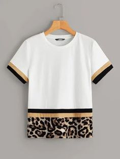 To find out about the Color Block Leopard Print Tee at SHEIN, part of our latest T-Shirts ready to shop online today! Latest T Shirt, T Shirts For Women, Clothes For Women, Printed Tees, Diy Clothes, Blouse Designs, Color Blocking, Colour Block, Colorful Shirts