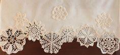 Curtain with crochet doilies cafe curtain valance window