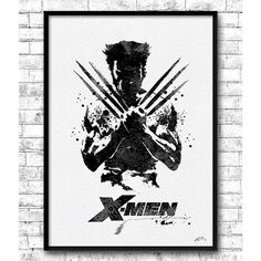 Wolverine 2 Watercolor Print X-Men Poster Wall Hanging Giclee wall... ($10) ❤ liked on Polyvore featuring men's fashion