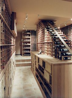 In this #wine #cellar, bottles move down the pyramid until it's their turn to be uncorked.