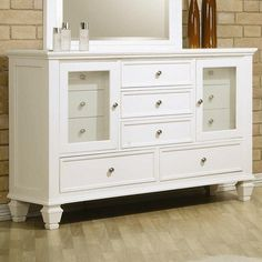 """Coaster Sandy Beach 201303 61.25"""" Dresser with 11 Drawers 2 Glass Doors Tapered Turned Legs Tropical Hardwoods and Veneers Construction in White"""