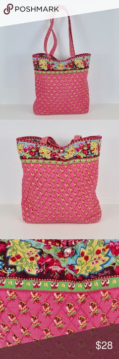 """{Vera Bradley} """"Pink Pansy"""" Tote Shoulder Bag Cute retired """"Pink Pansy"""" tote from Vera Bradley. Features pansies and butterflies in the colors pink, yellow, blue, & green.  Condition: In good pre-owned condition.  *171025_ Vera Bradley Bags Shoulder Bags"""