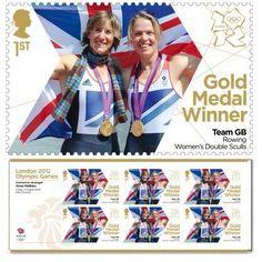 Gold Medal Winner stamp - Katherine Grainger & Anna Watkins, Rowing, Women's Double Sculls