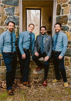 Navy blue pants, brown shoes, brown belts, chambray button down shirts and blue ties. Wedding style: indie, shabby chic; Wedding colors: blue, peach and pink. Photo by Redfield Photography, check out more here.