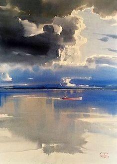 Ideas art pintura rostros for 2019 Watercolor Clouds, Watercolor Water, Watercolor Landscape Paintings, Watercolor Artists, Seascape Paintings, Landscape Art, Water Art, Scenery, Drawing