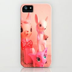 pink deer and elephant iPhone & iPod Case by Vintage  Cuteness - $35.00 #pink #vintage #pastel #bambi #doe #deer #fawn #feminine #kitsch #childrens #iphone #ipod #case