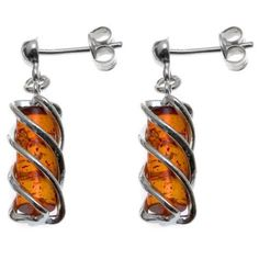Honey Amber Sterling Silver Twisted Tower Earrings -- Check this awesome product by going to the link at the image.(This is an Amazon affiliate link)